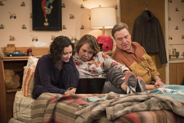 Sara Gilbert, Roseanne Barr, and John Goodman in <em>Roseanne.</em> (Photo: Adam Rose/ABC)