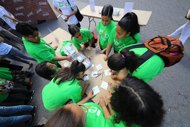 <p>Students create art for the LEAP Public Art Program'™s citywide exhibition in Union Square Park in New York City on June 5, 2018. (Photo: Gordon Donovan/Yahoo News) </p>