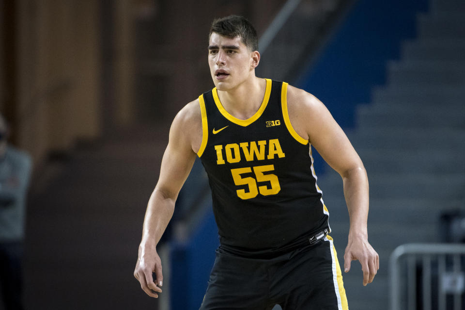 ANN ARBOR, MICHIGAN - FEBRUARY 25: Luka Garza #55 of the Iowa Hawkeyes looks on during the first half against the Michigan Wolverines at Crisler Arena on February 25, 2021 in Ann Arbor, Michigan. (Photo by Nic Antaya/Getty Images)