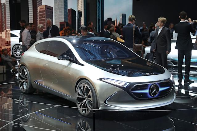 <p><strong>Mercedes-Benz Concept EQA</strong><br>Unlike the Project One hypercar, this Mercedes-Benz concept car is fully electric, with some nifty extras, like the interactive grill that will change graphics depending on the drive mode you're in (Sports Mode gets flames, for example). It's just one of 10 vehicles Mercedes has in development. This one has an estimated range of 402 kilometres on one charge. Anticipated launch year: By 2022. (Photo by Sean Gallup/Getty Images) </p>