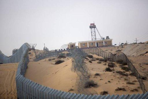 View shows Israel's southern border with Egypt near the village of Nitzanei Sinai. An Israeli soldier and three militants who infiltrated from Egypt's Sinai peninsula have been killed in clashes along the border, the army says