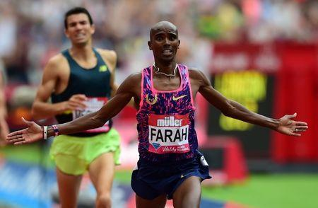 Athletics - London Anniversary Games - London, Britain - July 9, 2017 Great Britain's Mo Farah celebrates winning the Men's 3000m REUTERS/Hannah McKay