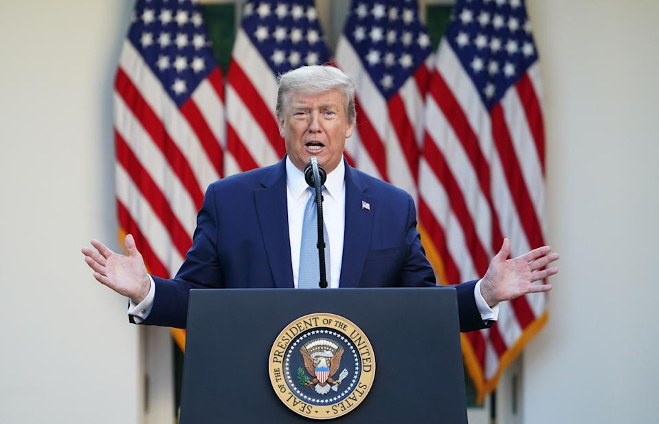 US President Donald Trump gestures as he speaks during the daily briefing on the novel coronavirus, which causes COVID-19, in the Rose Garden of the White House on April 15, 2020, in Washington, DC. (Photo by MANDEL NGAN / AFP) (Photo by MANDEL NGAN/AFP via Getty Images)