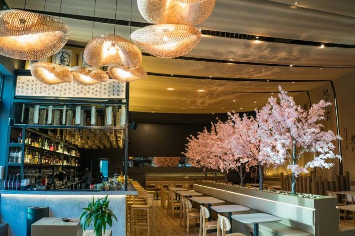 The dining room and bar at Paperfish Sushi, opening in Brickell.