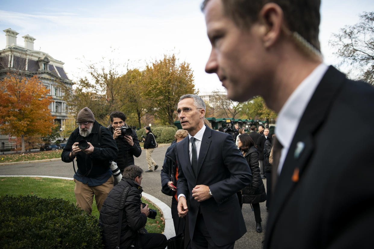 Nato Secretary General Jens Stoltenberg departs after speaking with reporters following a meeting with President Donald Trump at the White House in Washington, Nov. 14, 2019. (Al Drago/The New York Times)