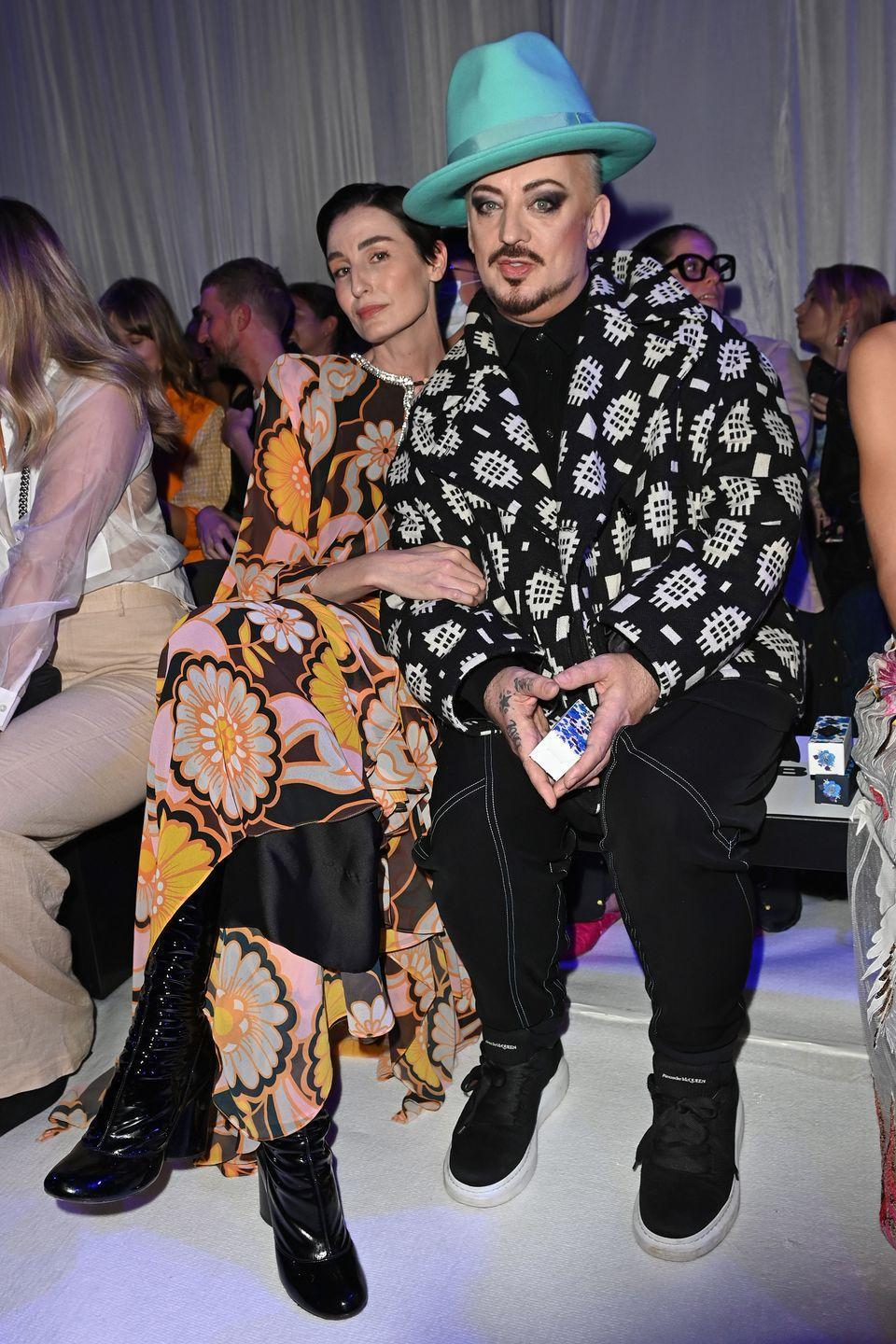 <p><strong>21 September</strong></p><p>Erin O'Connor and Boy George opted for bold colour and prints at the Richard Quinn show during London Fashion Week. </p>
