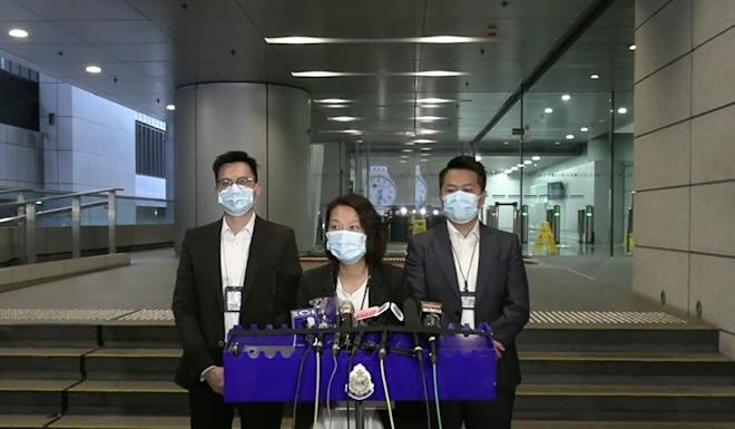 Superintendent Eileen Chung of the Organised Crime and Triad Bureau briefs the media on the arrests. Photo: Handout