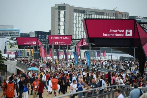 Spectators arrive at Stratford station to reach the Olympic Park prior the opening ceremony of the London 2012 Olympic Games
