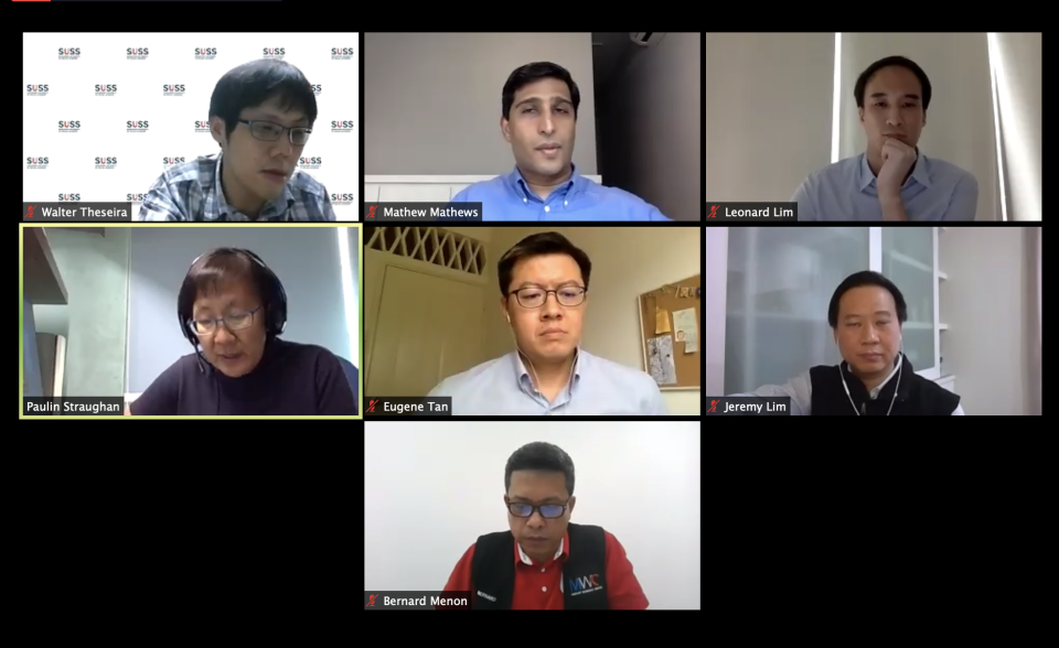 """The speakers and panelists for """"Migrant workers: Policy responses and lessons from the Covid-19 pandemic"""" along with moderator Dr Mathew Mathews, head of the Institute of Policy Studies' Social Lab, on 6 May, 2020. (SCREENSHOT)"""