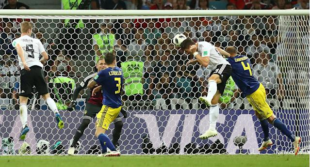 Soccer Football - World Cup - Group F - Germany vs Sweden - Fisht Stadium, Sochi, Russia - June 23, 2018 Germany's Mario Gomez misses a chance to score REUTERS/Pilar Olivares