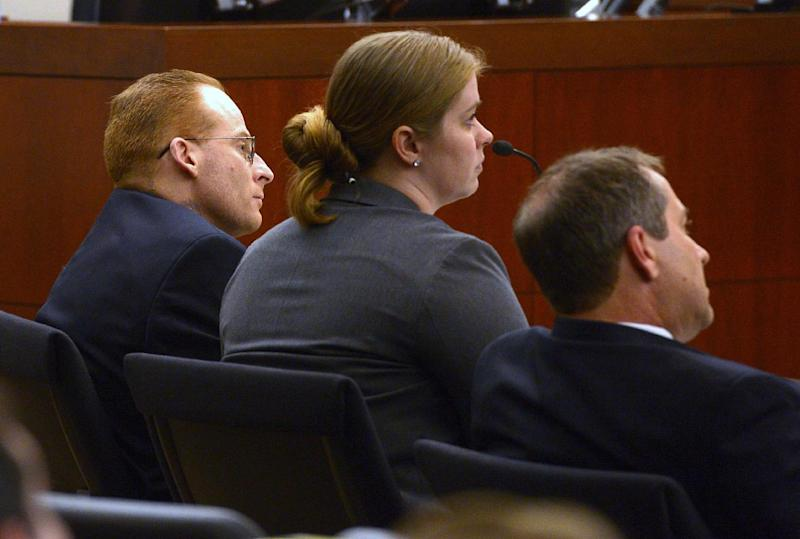 Eric Millerberg, left, and his defense attorneys Haylee Mills, center, and Randall Marshall listen to opening statements by Deputy Weber County prosecuting attorney Chris Shaw, Wednesday, Feb. 12, 2014, in Ogden, Utah. Millerberg has been charged with injecting his 16-year-old baby sitter, Alexis Rasmussen, with a fatal dose of heroin and methamphetamine, then taking his wife and infant daughter along to dump Rasmussen's body near a river. (AP Photo/The Salt Lake Tribune, Leah Hogsten, Pool)
