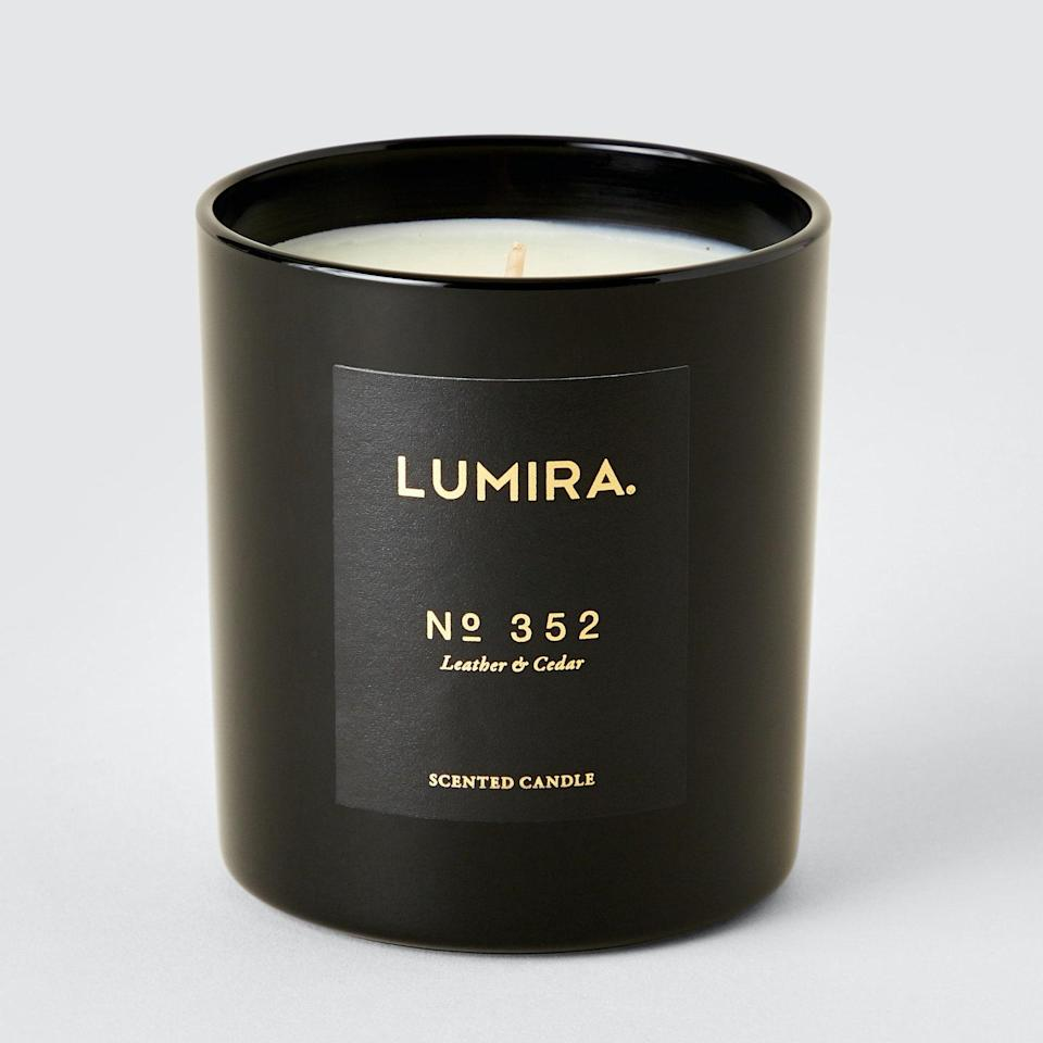 """Vanilla balances out this candle's pronounced blend of French leather, spices, amber, and cedarwood. Spiked with a bit of labdanum tree and musk, Lumira's Leather & Cedar candle is borderline masculine and great for shared spaces. $70, Verishop. <a href=""""https://www.verishop.com/lumira/candles/no352-leather-cedar-candle/p1688189075491"""" rel=""""nofollow noopener"""" target=""""_blank"""" data-ylk=""""slk:Get it now!"""" class=""""link rapid-noclick-resp"""">Get it now!</a>"""