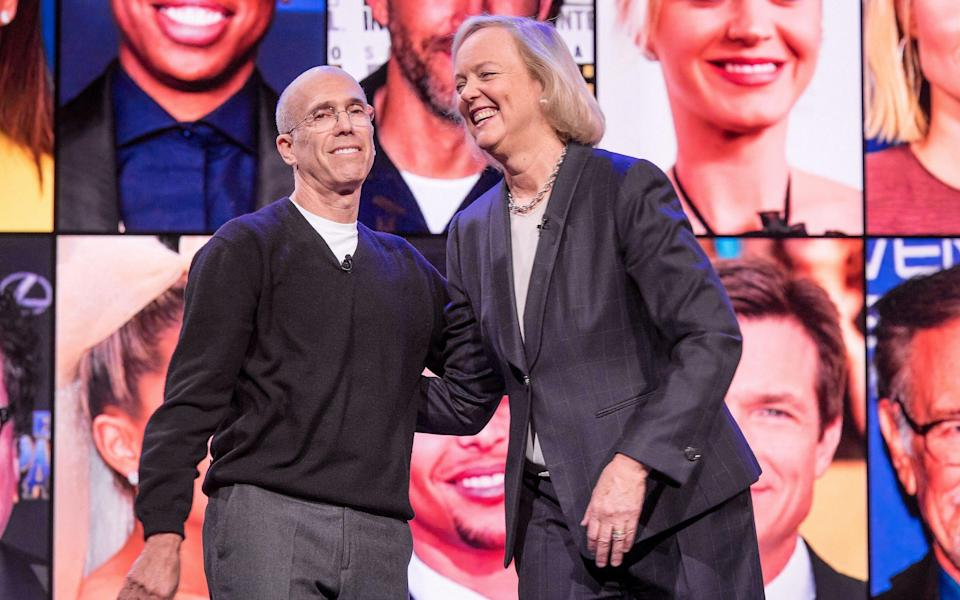 Quibi's Jeffrey Katzenberg and Meg Whitman at tech conference CES this year - Bloomberg