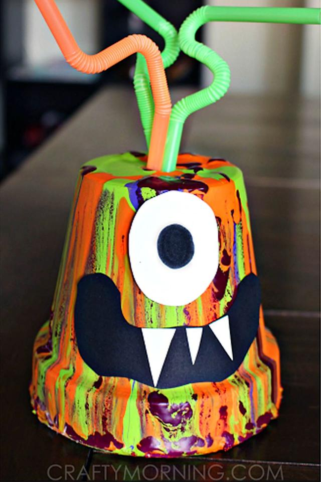 "<p>Let their imaginations run wild as they use all the colors of the rainbow to bring these silly monsters to life.</p><p><strong>Get the tutorial at <a rel=""nofollow"" href="" http://www.craftymorning.com/paint-drip-monster-pots-kids-halloween-craft/"">Crafty Morning</a>. </strong></p><p><strong>Tools you'll need: </strong>small terracotta pot ($16 for 12, <a rel=""nofollow"" href=""https://www.amazon.com/Winlyn-Terracotta-Ceramic-Pottery-Succulent/dp/B072FMJNWV"">amazon.com</a>), Black stock paper ($13, <a rel=""nofollow"" href=""https://www.amazon.com/Heavyweight-Solid-Black-Cardstock-11/dp/B01EGAEJ3I"">amazon.com</a>), white stock paper ($10, <a rel=""nofollow"" href=""https://www.amazon.com/dp/B002BT17KU/ref=dp_cerb_2"">amazon.com</a>), acrylic paint ($19, <a rel=""nofollow"" href=""https://www.amazon.com/Apple-Barrel-Acrylic-2-Ounce-PROMOABI/dp/B00ATJSD8I"">amazon.com</a>), bendy straws ($2, <a rel=""nofollow"" href=""https://www.amazon.com/Bemall-Eco-friendly-Flexible-Drinking-Cocktail/dp/B071XW24ZX"">amazon.com</a>)</p>"
