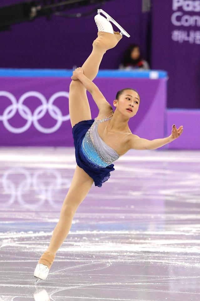 <p>Xiangning Li of China competes in the Figure Skating Team Event – Ladies' Short Program on day two of the PyeongChang 2018 Winter Olympic Games at Gangneung Ice Arena on February 11, 2018 in Gangneung, South Korea. (Photo by Maddie Meyer/Getty Images) </p>