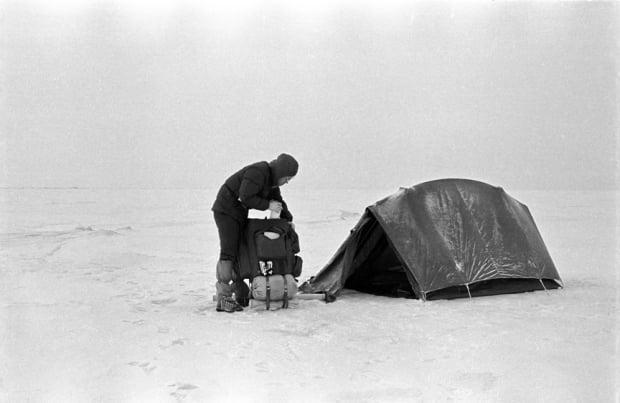 Voelker pitched up a tent one day into his hike across the lake.