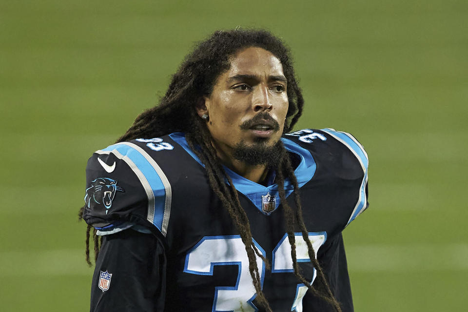 FILE - Carolina Panthers safety Tre Boston (33) is shown during an NFL football game against the New Orleans Saints in Charlotte, N.C., in this Sunday, Jan. 3, 2021, file photo. The Carolina Panthers are releasing veteran safety Tre Boston, defensive end Stephen Weatherly and punter Michael Palardy in a salary cap cost-cutting move, a person familiar with the situation told The Associated Press. The person spoke on condition of anonymity Friday, Feb. 19, 2021, because the moves have not yet been announced. (AP Photo/Brian Westerholt, File)