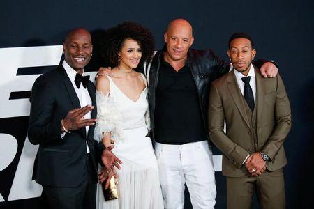 Actors Tyrese Gibson, Nathalie Emmanuell, Vin Diesel and Ludacris attend 'The Fate Of The Furious' New York premiere at Radio City Music Hall in New York