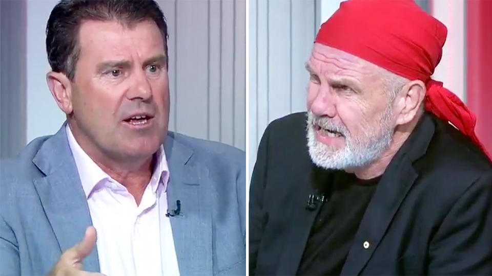 Mark Taylor and Peter FitzSimons, pictured here discussing the coronavirus crisis.
