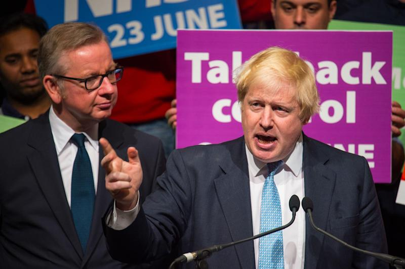 Leave campaign: Boris Johnson and Michael Gove at a Vote Leave campaign event in London: Dominic Lipinski/PA Wire
