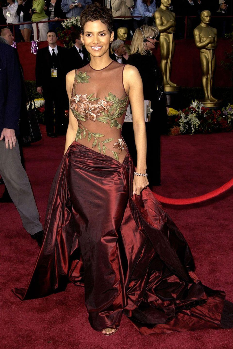 <p>Becoming the first African American woman to win an Academy Award for Best Actress is certainly a moment in time to remember, as was Halle Berry's Elie Saab partially sheer floral gown. </p>