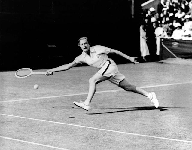 0Helen Jacobs of the United States reaches for a forehand drive in the first round match at the All England Lawn Tennis Championship in Wimbledon, England, June 29, 1936. Jacobs defeated her opponent Mrs. H. Cable, 6-1, 6-0. (AP Photo)