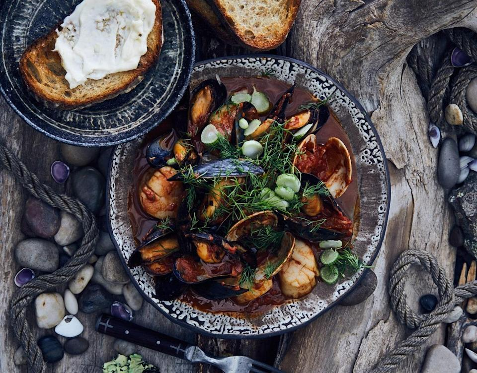 """For this stew recipe, if you have one, use a large, wide pot with a tight-fitting lid so you have plenty of room to let the shellfish open in the tomato sauce. <a href=""""https://www.bonappetit.com/recipe/spicy-tomato-shellfish-stew?mbid=synd_yahoo_rss"""" rel=""""nofollow noopener"""" target=""""_blank"""" data-ylk=""""slk:See recipe."""" class=""""link rapid-noclick-resp"""">See recipe.</a>"""