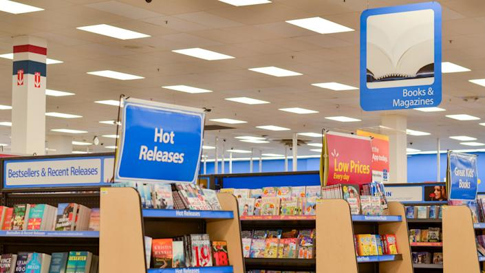 Chicago, USA, 2020 Books, magazines section in Walmart, Retail Store With Assortment Of FMCG products On Shelves in aisles decorated by visual merchandisers.