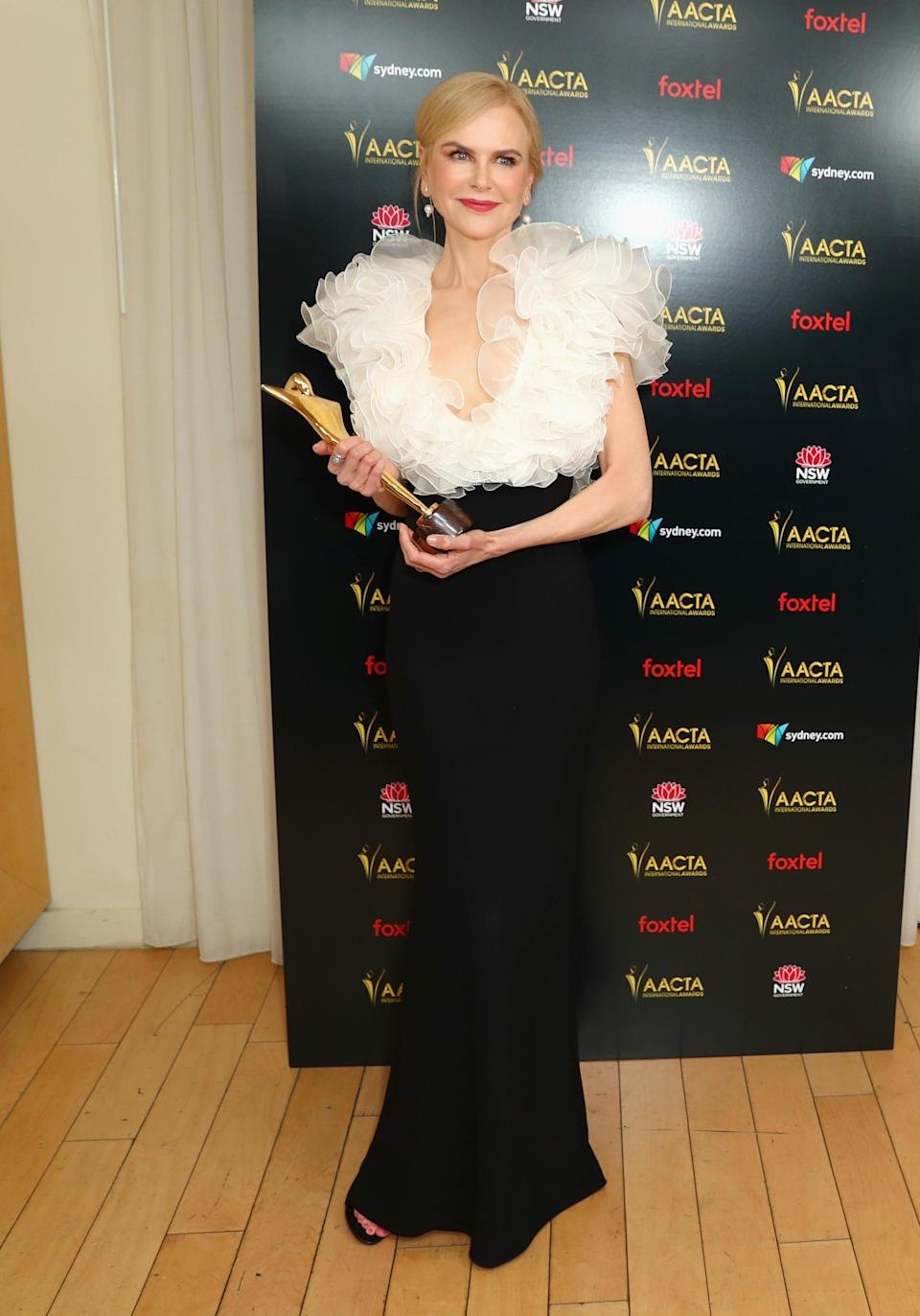 <p>She continue her exceptional year by winner her second ACCTA award for Best Supporting Actress for her role in gay-conversion therapy drama, Boy Erased. Photo: Getty </p>
