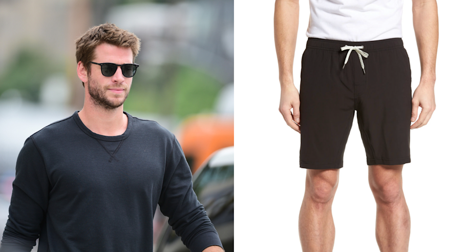 Liam Hemsworth shows off his Ninja skills in $85 gym shorts (Photos via gotpap/Bauer-Griffin/Getty Images & Nordstrom)
