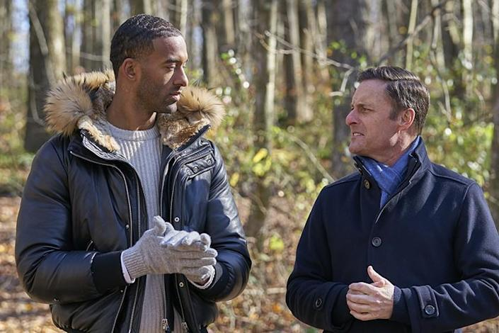 """""""The Bachelor"""" host Chris Harrison, right, with leading man Matt James. Harrison ignited controversy this season after a contentious interview with former """"Bachelorette"""" Rachel Lindsay on """"Extra."""" (Craig Sjodin / ABC)"""