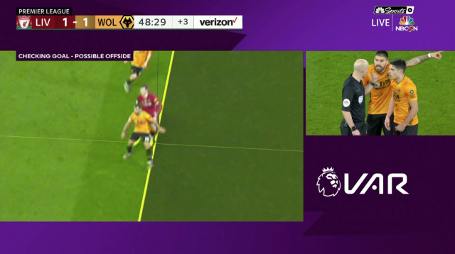 "Wolves' equalizer against Liverpool was disallowed by VAR for this ""offside"" in the buildup. (Screenshot: NBC Sports)"