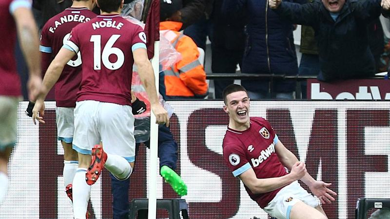 Declan Rice (right) celebrates his winner as West Ham beat Arsenal 1-0 in the Premier League