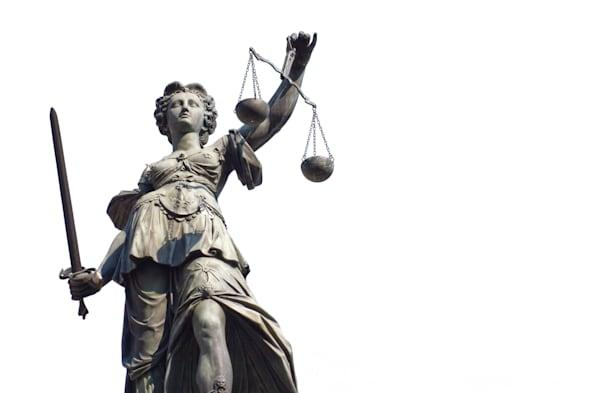 justitia isolated on a white...