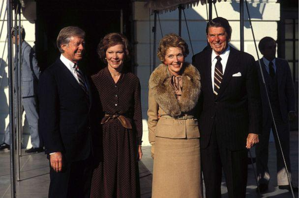 PHOTO: President Jimmy Carter and first lady Rosalyn Carter pose with President-elect Ronald Reagan and his wife Nancy in Washington, on Nov. 20, 1980. (Francois Lochon/Gamma-Rapho via Getty Images)