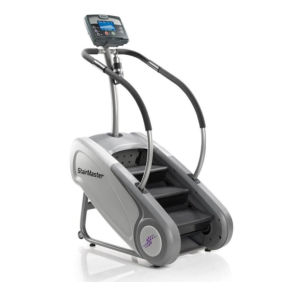 """<p><strong>StairMaster</strong></p><p>amazon.com</p><p><strong>$3999.00</strong></p><p><a href=""""https://www.amazon.com/dp/B00B1W8N0A?tag=syn-yahoo-20&ascsubtag=%5Bartid%7C2089.g.501%5Bsrc%7Cyahoo-us"""" rel=""""nofollow noopener"""" target=""""_blank"""" data-ylk=""""slk:Shop Now"""" class=""""link rapid-noclick-resp"""">Shop Now</a></p><p>In search of a commercial-grade stair-stepper you can use at home? Look no further than this option from StairMaster. The smallest offering yet from the OG stepper company, the SM3 is packed with premium and durable commercial-grade components, but won't hog space.</p><p>This model features 10 pre-programmed workouts, 20 resistance levels, and a step range of 26 to 162 steps per minute. There are heart rate pulse grips mounted to the handrails, but it's also compatible with Polar heart rate monitoring devices like chest straps and watches, so you can really zero in on your training zones.</p>"""