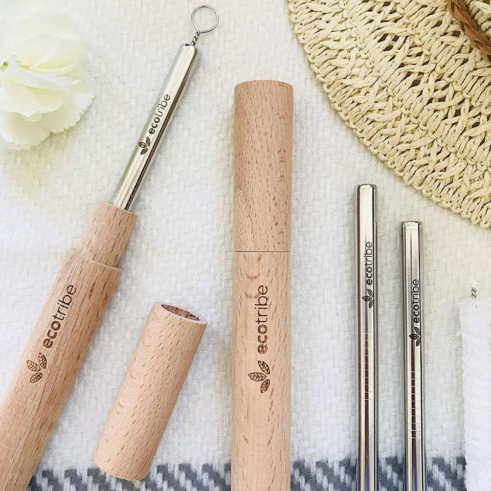 """<p>For a sleek and modern option, stainless steel straws are sure impress your guests. They're dishwasher safe and durable, so they'll hold up to plenty of wear and tear. Try a portable one with a wooden carrying case or keep a whole set in your silverware drawer at home.</p> <p><em>Reusable Metal Stainless Steel Straws: 2 Travel Reusable Straws + 1 Wooden Case, $15 at <a href=""""https://www.amazon.com/Stainless-Steel-Reusable-Straw-Set/dp/B07HLCBXBM/ref=as_li_ss_tl?ie=UTF8&linkCode=ll1&tag=fwreusablestrawsmsoll0719-20&linkId=a451a18a95ffe5d5c5b6b7713d8774a1&language=en_US"""" target=""""_blank"""">amazon.com</a></em><br /><em>10 Reusable Straws - Stainless Steel Drinking, $11 at <a href=""""https://www.amazon.com/Reusable-Straws-Stainless-NON-TOXIC-non-plastic/dp/B009ZOYCA6/ref=as_li_ss_tl?ie=UTF8&linkCode=ll1&tag=fwreusablestrawsmsoll0719-20&linkId=0bcef309fb85ed79a4f3b606dd436623&language=en_US"""" target=""""_blank"""">amazon.com</a></em></p>"""