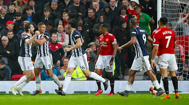 Jay Rodriguez celebrates after securing the points for West Brom
