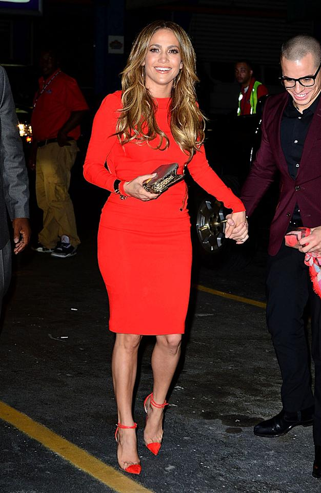 "Also looking lovely in a bold hue this week was Jennifer Lopez, who got  to celebrate her 43rd birthday at a yacht party thrown by her  25-year-old beau Casper Smart. What do you make of the ex-""American  Idol"" judge's ensemble, which featured a vibrant Tom Ford frock and $800  Christian Louboutin ""Bis Un Bout"" ankle strap pumps? Hot or not?  (7/24/2012)<br> <br> <a target=""_blank"" href=""http://twitter.com/YahooOmg"">Follow omg! on Twitter!</a>"