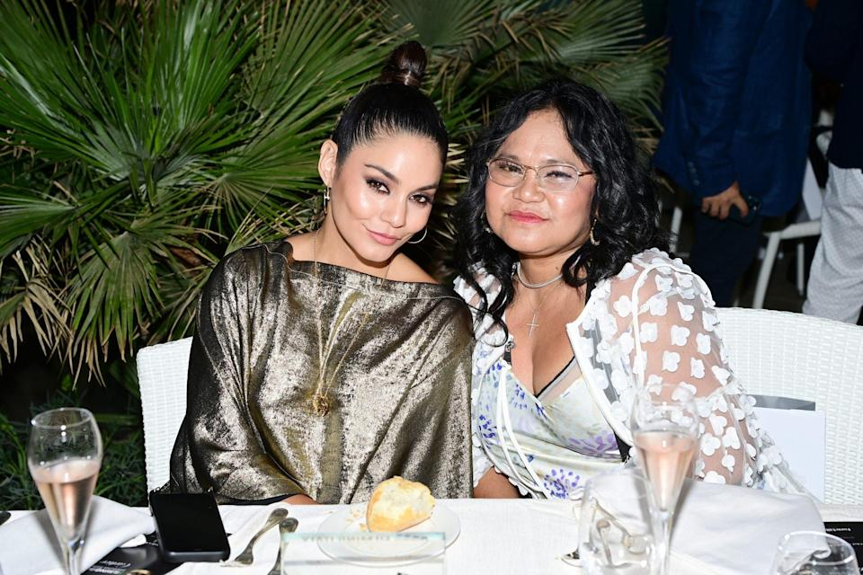 <p>Vanessa Hudgens and her mom Gina Guangco pose at the Filming Italy Festival at Forte Village Resort on July 24 in Santa Margherita di Pula, Italy.</p>