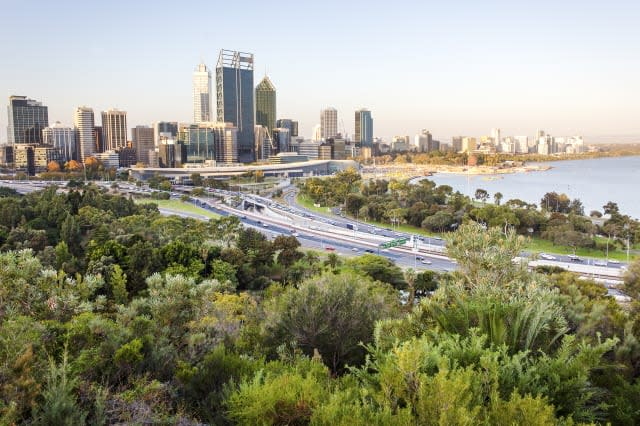 Perth city skyline and main road