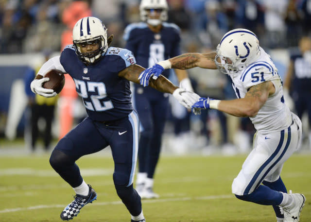"""Fantasy fanatics have waited with bated breath for <a class=""""link rapid-noclick-resp"""" href=""""/nfl/players/29279/"""" data-ylk=""""slk:Derrick Henry"""">Derrick Henry</a> to bust out. Is this the year the former Heisman winner delivers on the promise? (AP Photo/Mark Zaleski)"""