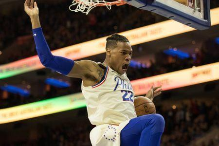 Apr 6, 2018; Philadelphia, PA, USA; Philadelphia 76ers forward Richaun Holmes (22) reacts as he dunks against the Cleveland Cavaliers during the first quarter at Wells Fargo Center. Mandatory Credit: Bill Streicher-USA TODAY Sports