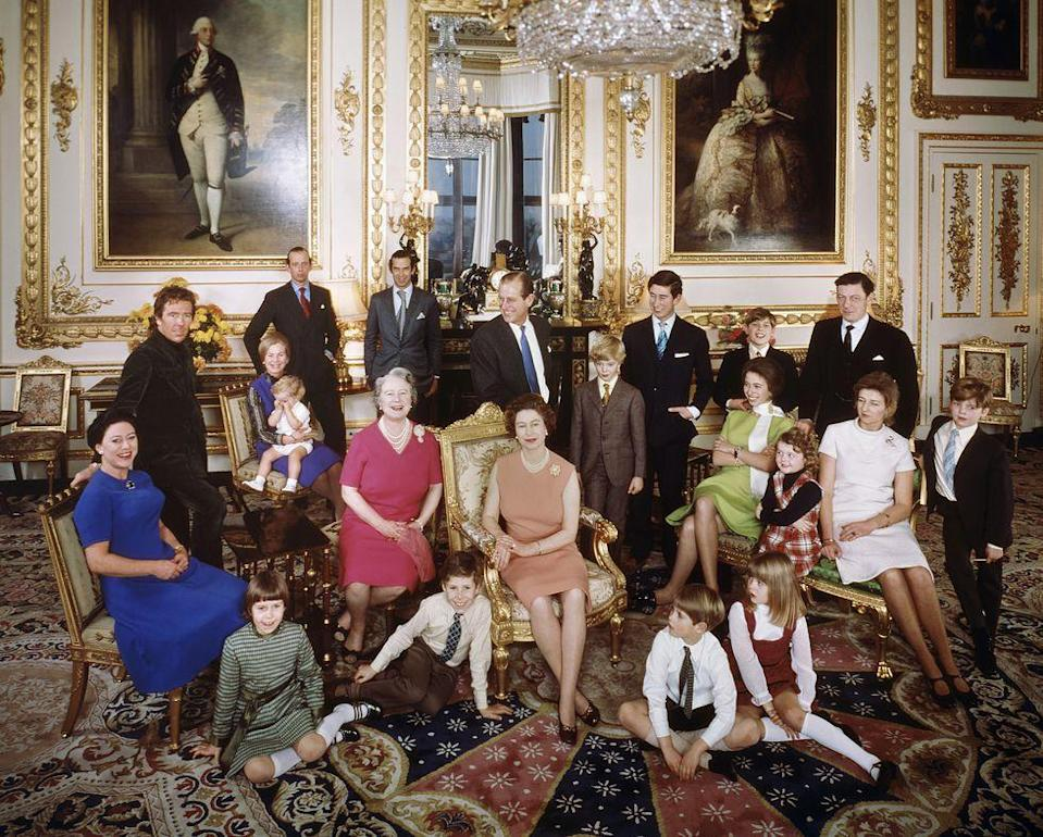 <p>The royals take great candids, too, like this photo taken the day after Christmas in 1971 at Windsor Castle. </p><p>Back row, left to right: the Earl of Snowdon, the Duchess of Kent and Lord Nicholas Windsor, the Duke of Kent, Prince Michael of Kent, Prince Philip, Prince Charles, Prince Andrew, and Angus Ogilvy.</p><p>Middle row, left to right: Princess Margaret, the Queen Mother, The Queen, the Earl of St. Andrews, Princess Anne, Marina Ogilvy, Princess Alexandra, and James Ogilvy. </p><p>Front row (left to right) Lady Sarah Armstrong-Jones, Viscount Linley, Prince Edward, and Lady Helen Windsor.</p>