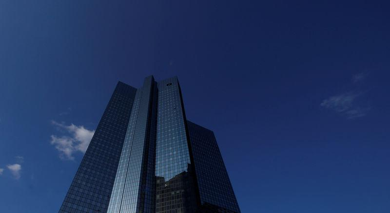 The headquarters of the Deutsche Bank is pictured in Frankfurt