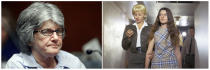 """FILE - This combination of file photos shows Patricia Krenwinkel being led to superior court in Los Angeles on Feb. 24, 1970, right, and years later at a parole hearing at the California Institution for Women in Corona, Calif., on Jan. 20, 2011. Krenwinkel testified at a 2016 parole hearing that at the direction of Charles Manson she repeatedly stabbed Abigail Folger, then stabbed Leno LaBianca in the abdomen the following night and wrote """"Helter Skelter,"""" """"Rise"""" and """"Death to Pigs"""" on the walls with his blood. Krenwinkel, 71, remains in prison. (AP Photo/Reed Saxon, left, and George Brich, right, File)"""