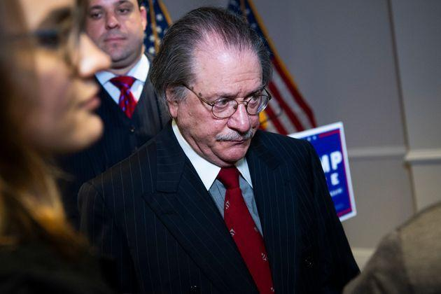 Joseph diGenova, attorney for President Donald Trump's campaign, at a November 19 press conference where Trump lawyers Rudy Giuliani, Jenna Ellis and Sidney Powell peddled conspiracy theories about the 2020 election.