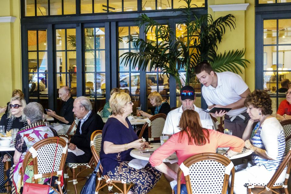West Palm Beach, CityPlace, Brio Tuscan Grille outdoor tables. (Photo by: Jeffrey Greenberg/Universal Images Group via Getty Images)