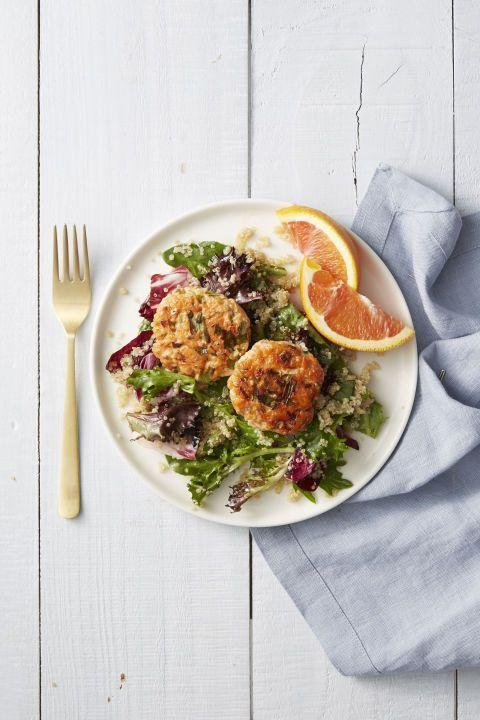"""<p>These salmon cakes are a must-have. And over a bed of fresh greens and quinoa, they make for a show-stopping meal. </p><p><em><a href=""""https://www.goodhousekeeping.com/food-recipes/a41236/wild-salmon-cakes-with-quinoa-salad-recipe/"""" rel=""""nofollow noopener"""" target=""""_blank"""" data-ylk=""""slk:Get the recipe for Wild-Salmon Cakes with Quinoa Salad »"""" class=""""link rapid-noclick-resp"""">Get the recipe for Wild-Salmon Cakes with Quinoa Salad »</a></em></p>"""