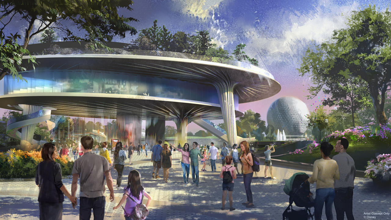 A new pavilion will be home base for Epcot's signature festivals. The three-level structure will feature a plaza level, a middle expo level, and a park that sits in the sky on the top level, complete with a view of World Showcase. (Disney)